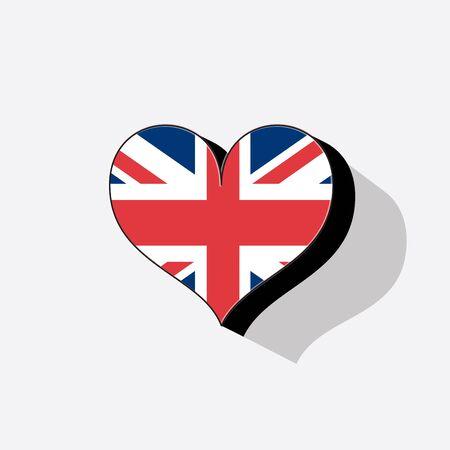 Wielka Brytania czy Wielka Brytania flaga w kształcie serca z długim cieniem.