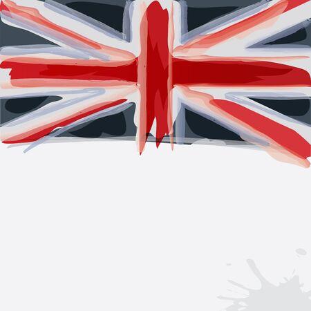 United Kingdomor UK  flag in watercolor style.