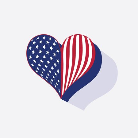 The USA flag colors painted like heart in watercolor style.  Ilustração