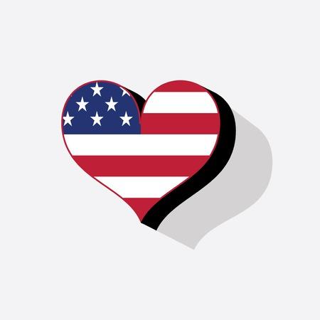 USA flag kolory malowane jak serca w stylu akwareli. EPS10 Ilustracja