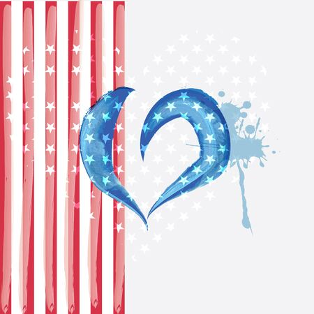 The USA flag colors painted like heart in watercolor style.  Illusztráció