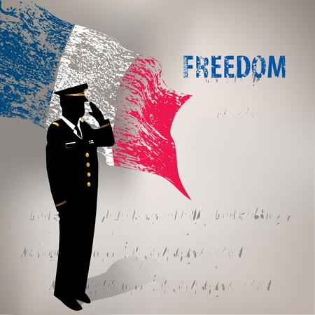France flag in grunge freedom text  background