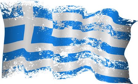 Flaga Grecji w grunge i Poszarpane brzegi Ilustracja