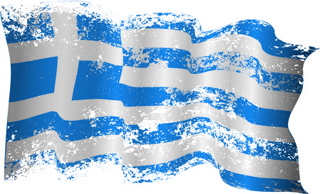 torn edges: Greece flag in grunge and torn edges