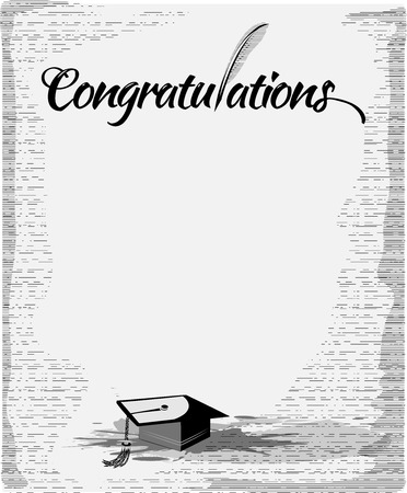 Congratulations text typography with quill pen and mortar. Vector