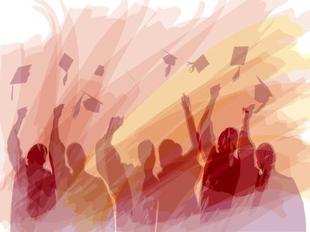fondo de graduacion: Graduaci�n en silueta en la pintura del color de agua