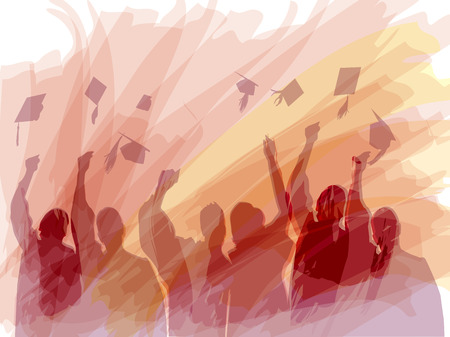 graduation background: Graduation in silhouette in water color painting Illustration