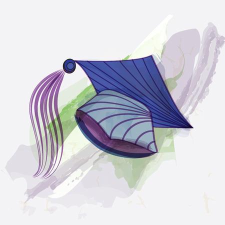 Mortar board in water color painting style. Banco de Imagens - 38988072