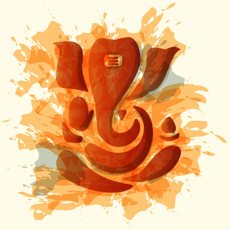 Ganesha lub Ganesh stylizowane w czerni i bieli.