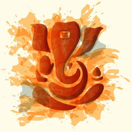 ganesh: Ganesha o Ganesh estilizado en blanco y negro.