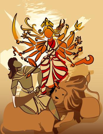 puja: Durga Hindu goddess with Asura in celebration of Durga puja, Dessehra,Nevaratri.