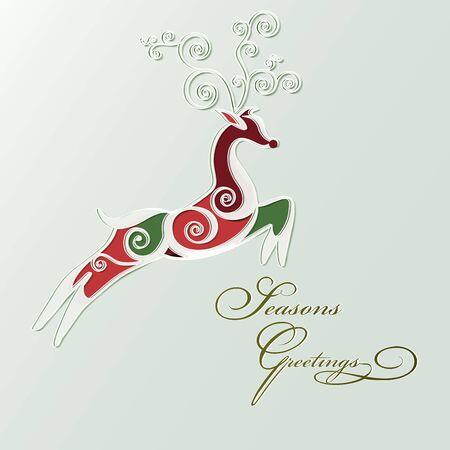 seasons greetings: Deer stylized for seasons greetings card. Vector. Vettoriali