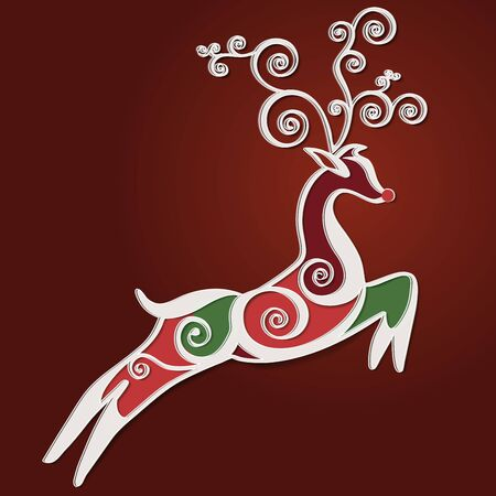 Deer stylized for seasons greetings card. Vector. Ilustração