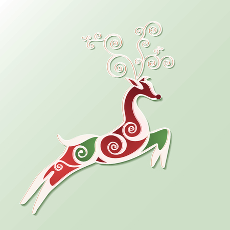 Deer stylized for christmas card. Vector. Banco de Imagens - 48203932