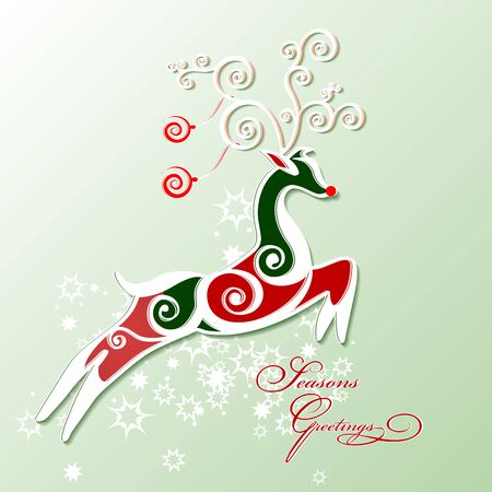 Deer stylized for christmas card. Vector.