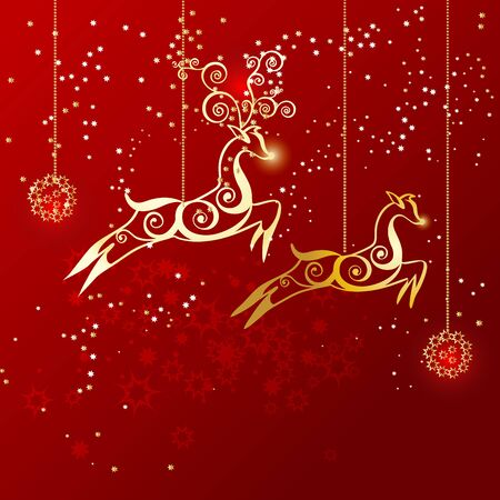 Reindeers as gold Christmas ornaments. Vector