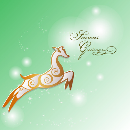 Reindeer stylized in golden swirls  for Seasons greetings card. Vector. Ilustração