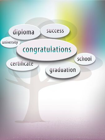 Education concept of graduation is like a tree on the path to success. Vector.