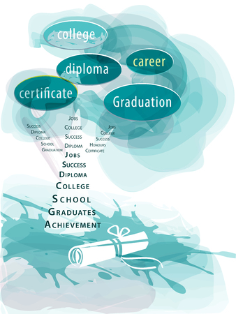 Education concept of graduation being  like a tree on the path to success, in watercolor style. Vector.