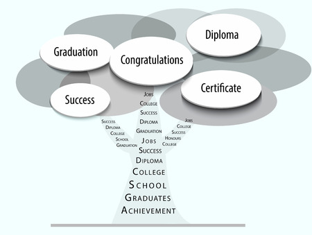 Value of education with graduation like a tree on the path to success. Vector.