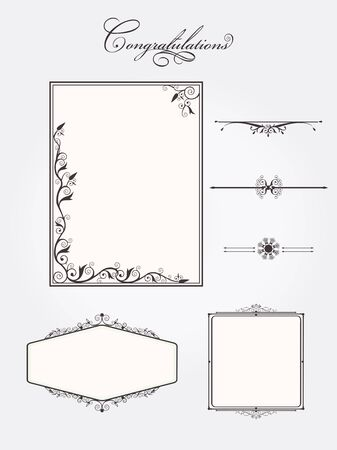 Ornate vintage frame set with rule line page elements. Vector