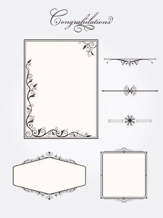 rule line: Ornate vintage frame set with rule line page elements. Vector