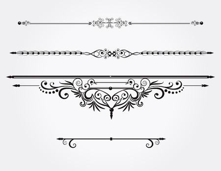 Calligraphic design elements or rule lines.Vector.