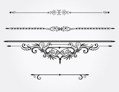 calligraphic design: Calligraphic design elements or rule lines.Vector.