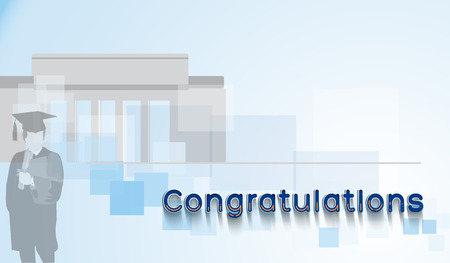 Congratulations text with graduate and college silhouette.