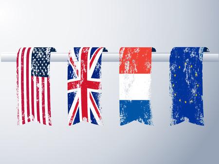 frances: grunge banderas americanas, británicas, francesas y europeas como banners.