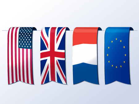 united states: American,British,French and Europe flags as banners.