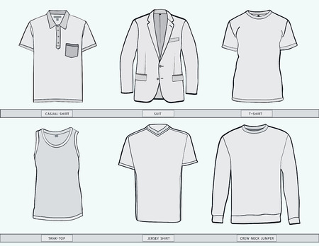 Mens shirt ,suit, jumper, tank top and jersey clothing templates . Ilustração