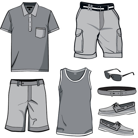 Men's clothes and summer accessories. T-shirt, Polo, shorts, sun glasses, casual shoes and belt for men's wear.