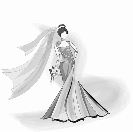 Bride dressed in gown and veil holding flowers. Banco de Imagens - 53443903