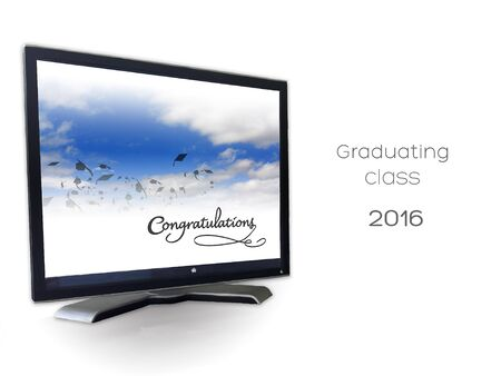 Graduation mortars in the sky in celebration with congratulations text framed inside a computer monitor.Graduating class of 2016. Banco de Imagens - 56005514