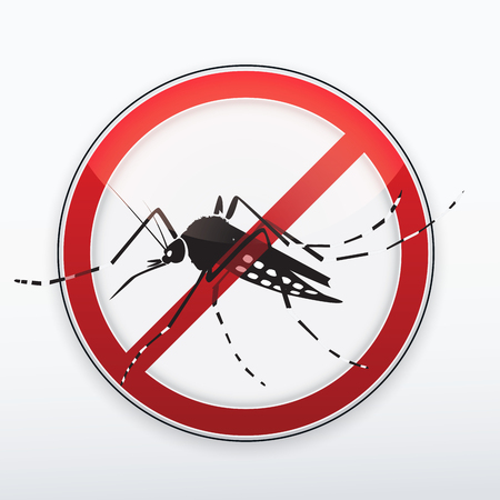 Mosquito stylized silhouette as red danger stop sign