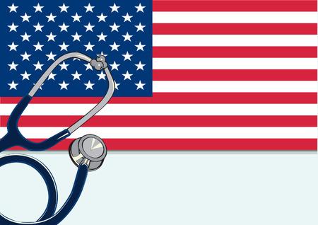 USA flag with stethoscope. Ilustração