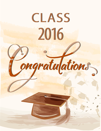 Congratulations text with quill and mortar for graduating class. Banco de Imagens - 56089454