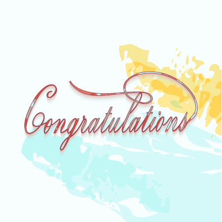 Congratulations calligraphy in water colors painting.