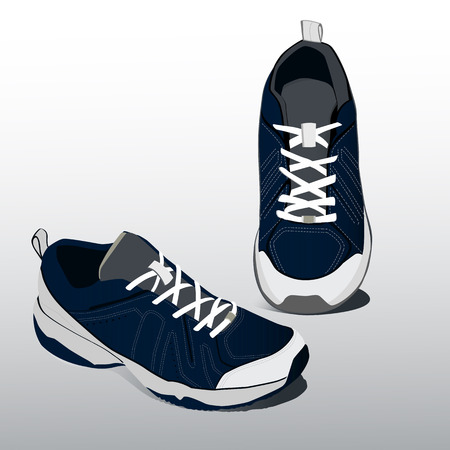 Sneakers pair for running. Realistic shoes. Vector.