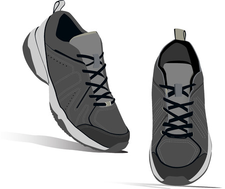 running shoe: Sneakers pair for running. Realistic shoes. Vector.