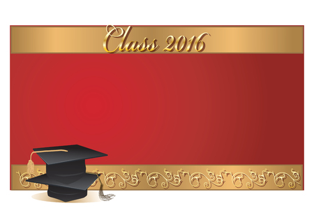 Graduation invitation card with mortars