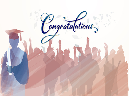 Congratulations to graduates. Vector. Illustration