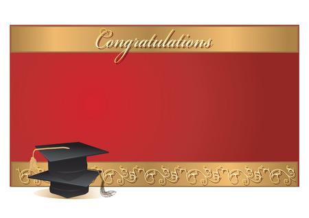 graduacion: tarjeta de invitación de la graduación con los morteros Vectores