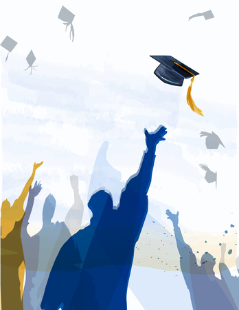 Congratulationstext with quill and mortar for graduating class. Banco de Imagens - 57220518