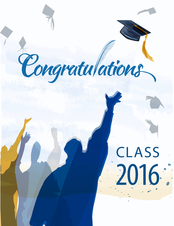 Congratulationstext with quill and mortar for graduating class. Illustration
