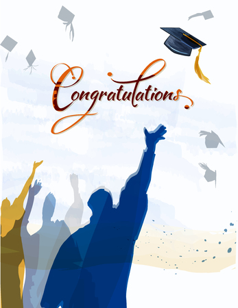 Congratulationstext with quill and mortar for graduating class. Banco de Imagens - 57220519