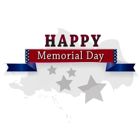 Happy Memorial day banner with stars. Illustration