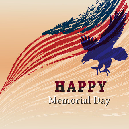 Happy Memorial day with eagle and usa flag in grunge.