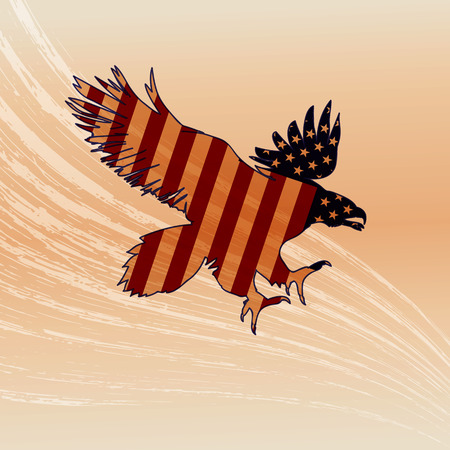 Eagle silhouette with flag in grunge. Illustration